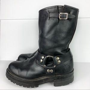 Frye Black Harness Leather Buckle Lug Sole Boots
